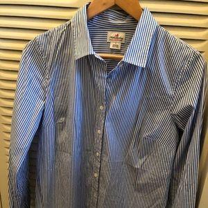 J. Crew Blue & White Striped Oxford
